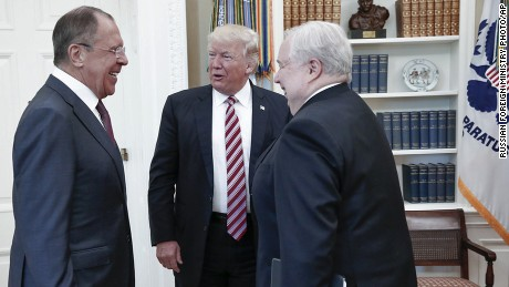 U.S. President Donald Trump meets with Russian Foreign Minister Sergey Lavrov, left, next to Russian Ambassador to the U.S. Sergei Kislyak at the White House in Washington, Wednesday, May 10, 2017. Trump on Wednesday welcomed Vladimir Putin's top diplomat to the White House for Trump's highest level face-to-face contact with a Russian government official since he took office in January. (Russian Foreign Ministry Photo via AP)