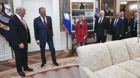 U.S. President Donald Trump meets with Russian Foreign Minister Sergey Lavrov, second left, at the White House in Washington, Wednesday, May 10, 2017. Trump on Wednesday welcomed Vladimir Putin's top diplomat to the White House for Trump's highest level face-to-face contact with a Russian government official since he took office in January. Fourth from right is Russian Ambassador to the U.S. Sergei Kislyak. (Russian Foreign Ministry Photo via AP)