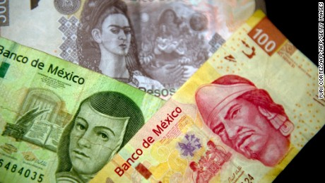 Picture of Mexican Peso notes of different denominations taken on December 27, 2011 in Mexico City.  AFP PHOTO/Yuri CORTEZ (Photo credit should read YURI CORTEZ/AFP/Getty Images)