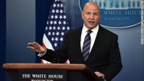 National Security Advisor H. R. McMaster speaks during a press briefing at the White House in Washington, DC on May 16.