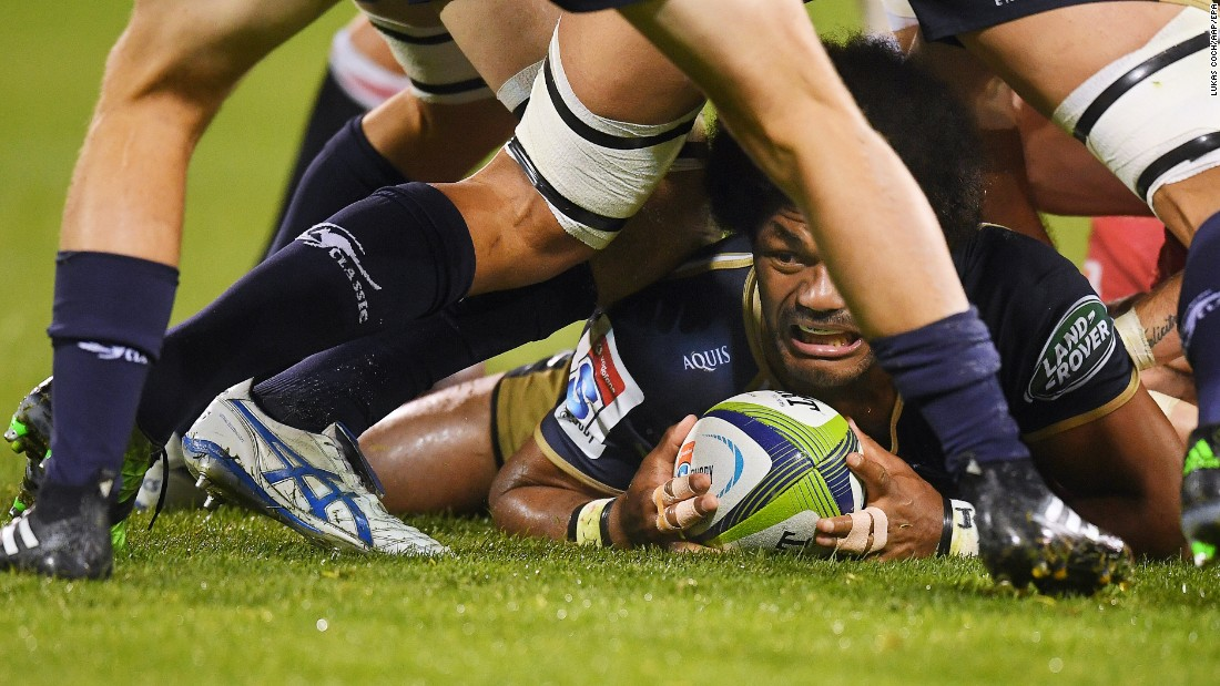 The Brumbies' Henry Speight holds onto the ball during a Super Rugby match in Canberra, Australia, on Friday, May 12.