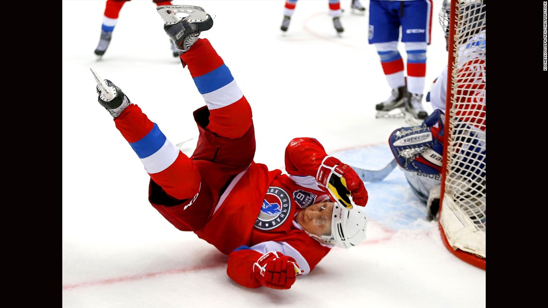 "Russian President Vladimir Putin takes a tumble during a hockey gala in Sochi, Russia, on Wednesday, May 10. Putin scored six goals in <a href=""http://www.cnn.com/2017/05/11/sport/vladimir-putin-ice-hockey/"" target=""_blank"">the exhibition game.</a>"