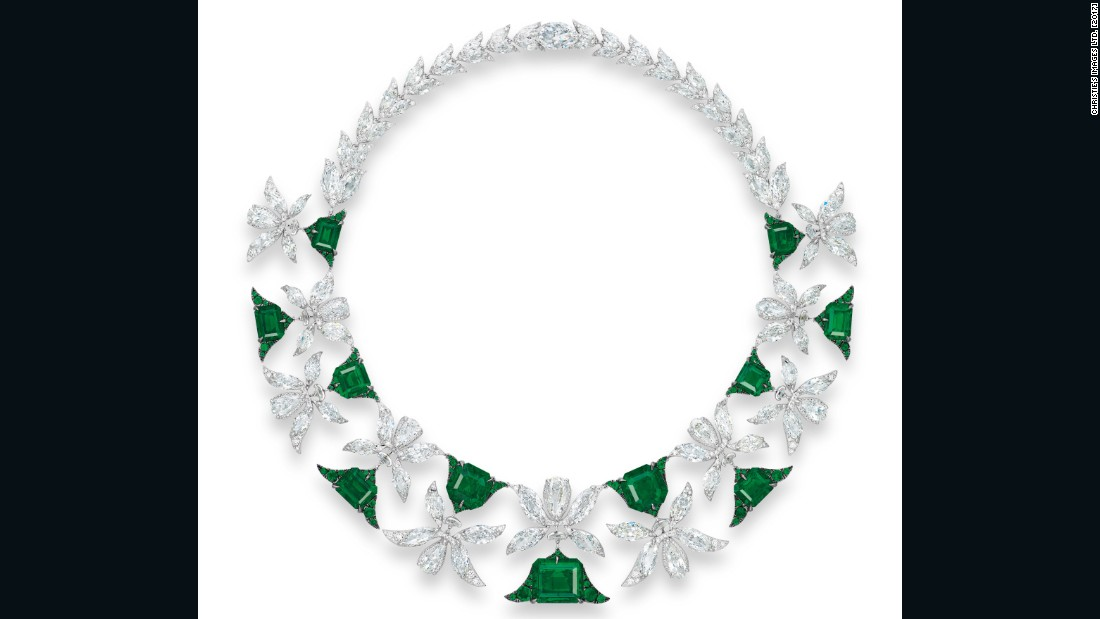 "Edmond Chin's Palmette necklace features 11 ""no oil"" Colombian emeralds (ranging from 3.03-12.34 carats), among the world's rarest stones, set in a Middle Eastern motif with vari-cut diamond foliate links."