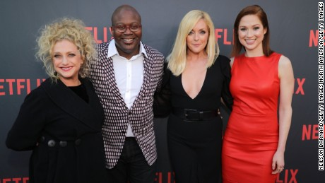 "NORTH HOLLYWOOD, CA - MAY 04:  (L-R) Carol Kane, Tituss Burgess, Jane Krakowski and Ellie Kemper attend Netflix's ""Unbreakable Kimmy Schmidt"" for your consideration event red carpet at Saban Media Center on May 4, 2017 in North Hollywood, California.  (Photo by Neilson Barnard/Getty Images)"