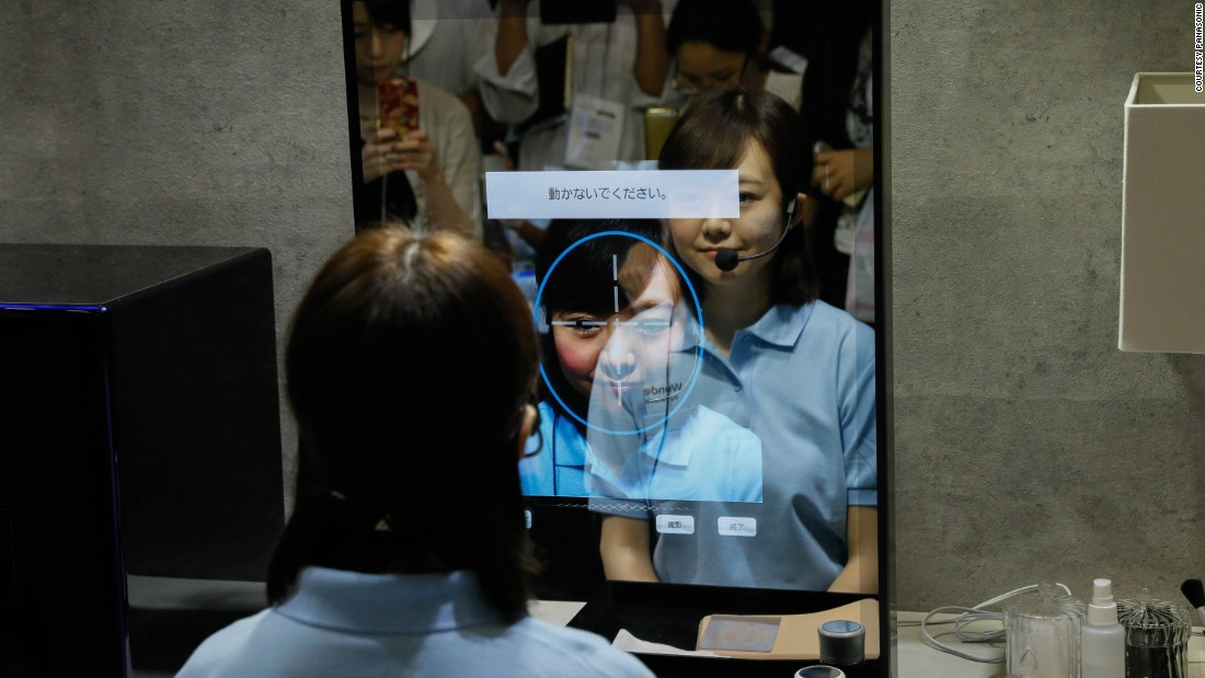 Not your ordinary looking glass -- this mirror detects wrinkles, redness, pores and sun damage, and offers a range of suitable products to address them. <br /><br />This Panasonic device also lets you virtually try out a variety of makeup looks -- and mustaches --  in the mirror. You can event print out the makeup, set on a sheet like a temporary tattoo, from a 3-D printer and stick it on your face.<br /><br />The Smart Mirror debuted in October 2016 at the Combined Exhibition of Advanced Technologies in Japan. <br />