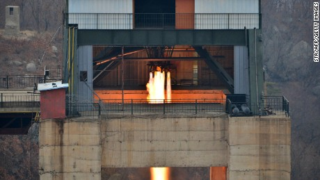 An image released by North Korea on March 19 shows the ground jet test of a newly developed high-thrust engine at the Sohae Satellite Launching Ground in North Korea.
