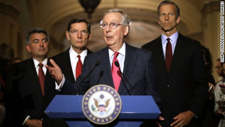 Senate Majority Leader Mitch McConnell talks to reporters with Sen. Cory Gardner, Sen. John Barrosso, and Sen. John Thune, following their party's weekly policy luncheon at the U.S. Capitol May 16, 2017 in Washington, DC. Many Republican and Democratic senators expressed frustration and concern about how President Donald Trump may have shared classified intelligence with the Russian foreign minister last week at the White House.