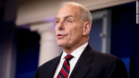 Homeland Security Secretary John Kelly talks to the media during the daily press briefing at the White House in Washington, Tuesday, May 2.