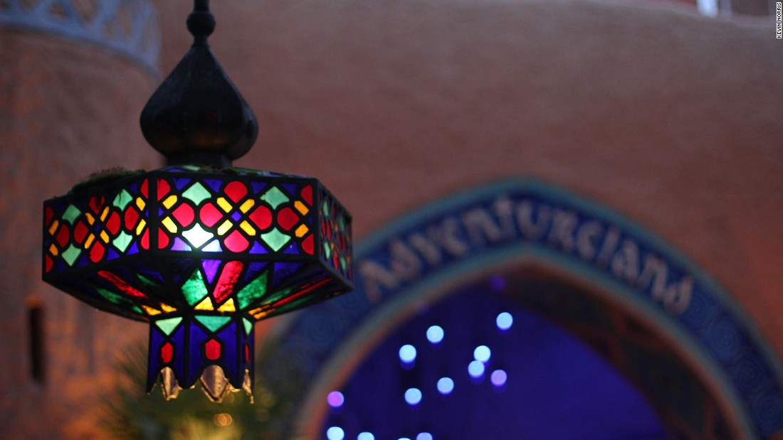 <strong>Adventureland: </strong>A Moroccan-inspired lamp lights the path into Adventureland.