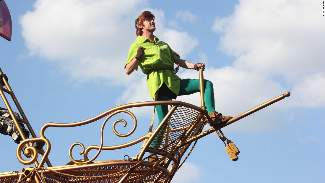 <strong>Peter Pan:</strong> He swings high above the crowds during Disney Stars on Parade.
