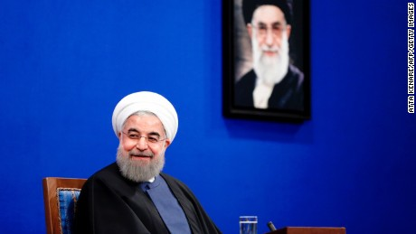 "Iranian President Hassan Rouhani gives a press conference in the capital Tehran on April 10, 2017. Rouhani is expected to run for a second term on May 19, 2017 but said this press conference was ""not about elections"". / AFP PHOTO / ATTA KENARE        (Photo credit should read ATTA KENARE/AFP/Getty Images)"