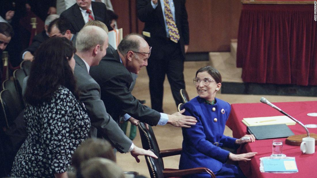 Ginsburg is greeted by her husband during her confirmation hearing before the Senate Judiciary Committee.