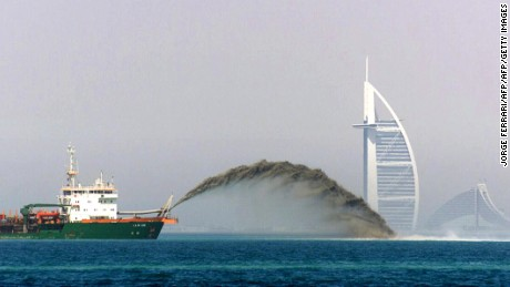 Sea dredgers are used to create Dubai's artificial islands.