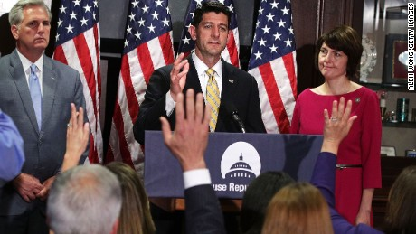 U.S. Speaker of the House Rep. Paul Ryan speaks as House Majority Leader Rep. Kevin McCarthy and House Republican Conference Chair Rep. Cathy McMorris Rodgers look on during a news briefing at the headquarters of Republican National Committee May 17, 2017 in Washington, DC. House Republican spoke to members of the media after a party conference meeting next door at the Capitol Hill Club.