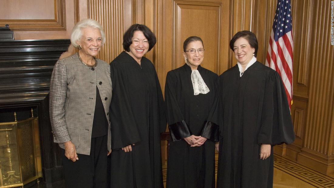 The only women who have become Supreme Court justices pose together in 2010. From left are Sandra Day O'Connor, Sonia Sotomayor, Ginsburg and Elena Kagan.