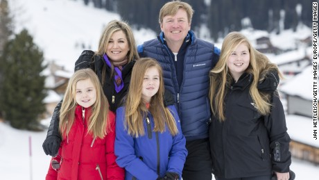 King Willem-Alexander and Princess Catharina-Amalia pose for royal family photo in Austria, February 2017.