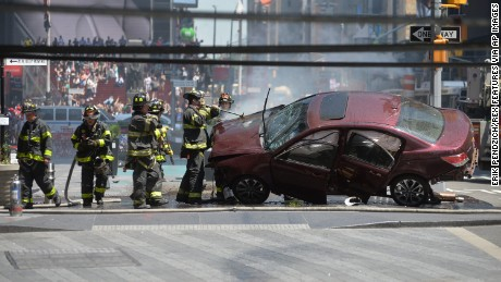 Aftermath of a car being driven into Pedestrians in Times Square Car Driven into Pedestrians in Times Square, New York, USA - 18 May 2017 (Rex Features via AP Images)