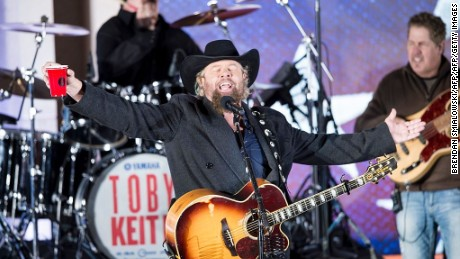 Country singer Toby Keith performs for US President-elect Donald Trump and his family during a welcome celebration at the Lincoln Memorial in Washington, DC, on January 19, 2017.