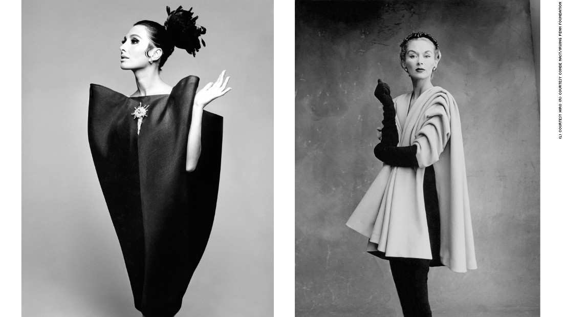 L: Alberta Tiburzi wears a Balenciaga envelope dress in Harper's Bazaar's June 1967 issue. <br />R: Lisa Fonssagrives-Penn wears a Balenciaga coat in 1950.
