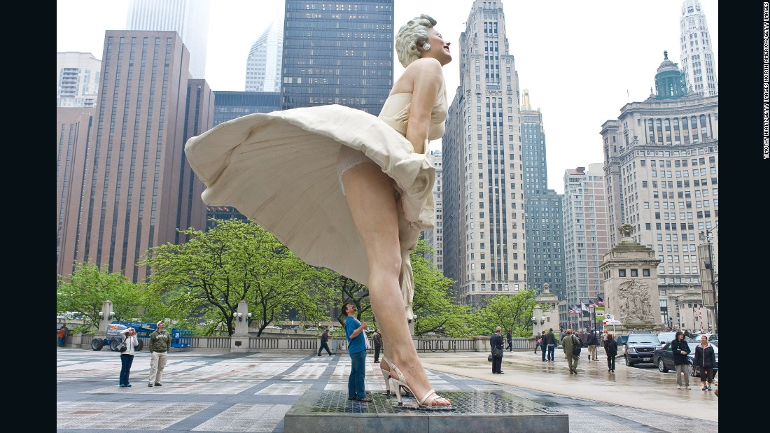 "The 26-foot ""Forever Marilyn"" sculpture recreated the scene when the actress gets caught in an updraft in ""The Seven Year Itch."" While that film preserved the star's modesty, Johnson's sculpture did not. On display in Chicago and Palm Springs, poor Marilyn was wheeled out for the masses, plenty of whom felt it necessary to capture an up-skirt shot."