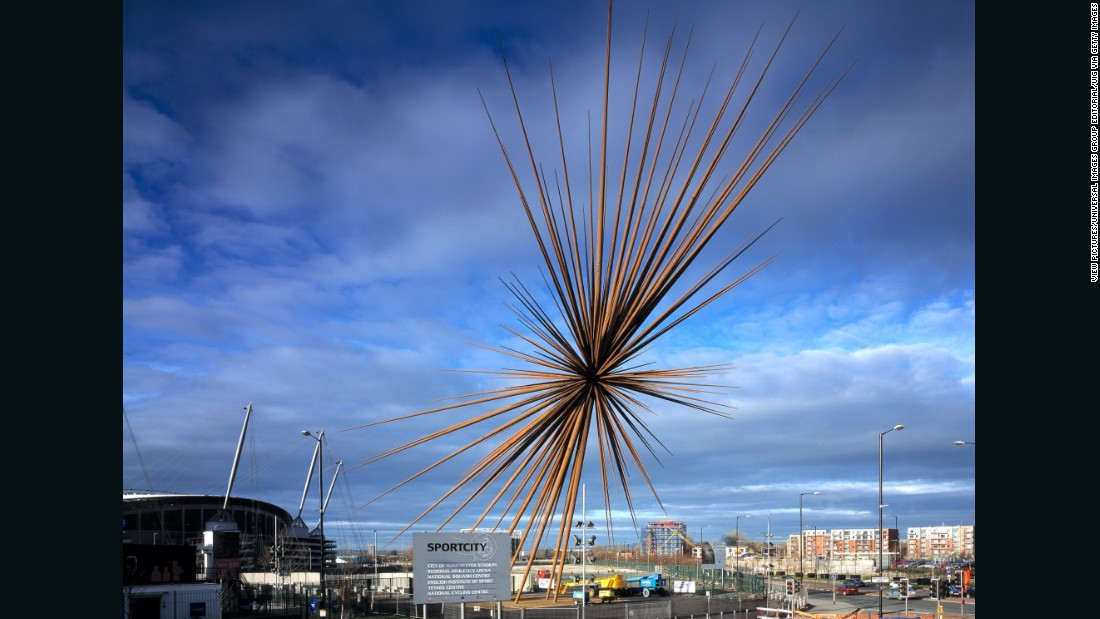 "Commissioned to celebrate the Manchester Commonwealth Games in 2002, the 184-foot burst of metal shards was supposed to represent a famous line by British sprinter Linford Christie, describing the moment he left the blocks. Six days before its unveiling, one of the steel spikes fell off. Month later another was found to have come loose and was removed by firefighters, then in 2006, another six removed for structural examination. In 2009, Manchester City Council sued Thomas Heatherwick Studio, and ""B Of The Bang"" was dismantled. Embarrassingly, <a href=""http://www.bbc.com/news/uk-england-manchester-18703854"" target=""_blank"">it was reported</a> in 2012 that the core of the $1.8-million sculpture was sold for scrap for $22,000."