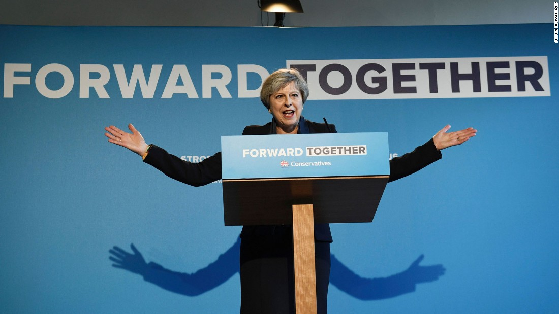 "British Prime Minister Theresa May gestures during the launch of the Conservative Party manifesto on Thursday, May 18. <a href=""http://www.cnn.com/2017/05/18/europe/uk-election-2017/"" target=""_blank"">The general election</a> is June 8."