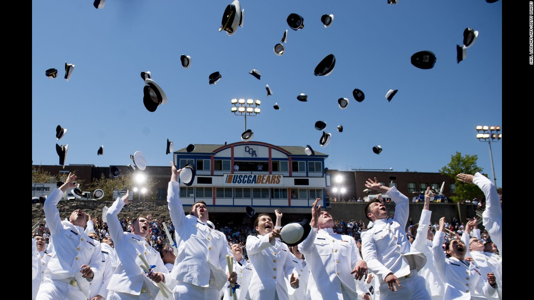 "Newly commissioned ensigns throw their hats in the air Wednesday, May 17, as they graduate from the US Coast Guard Academy in New London, Connecticut. President Trump <a href=""http://www.cnn.com/2017/05/17/politics/trump-coast-guard-speech/"" target=""_blank"">gave the commencement address.</a>"