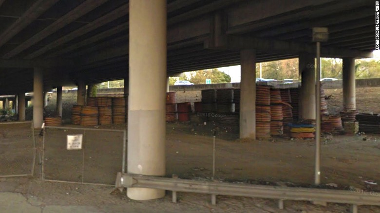 This November 2016 Google Street View image shows the state-owned storage lot where GDOT says high-density plastic tubes were stored from 2011 through the day of the March 2017 fire.