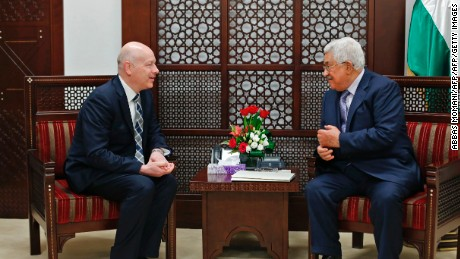 Palestinian President Mahmoud Abbas (R) meets with Jason Greenblatt, the US president's assistant and special representative for international negotiations on March 14, 2017.