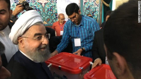 Iranian President Hassan Rouhani casts his vote in the 2017 election.