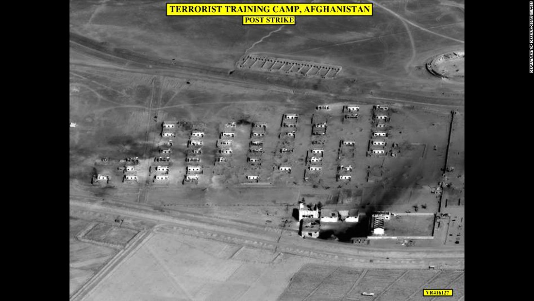 An aerial photo, released by the US Department of Defense on October 31, 2001, shows damage to a reported terrorist training camp in Afghanistan. US planes bombed the Taliban front line north of the Afghan capital of Kabul.