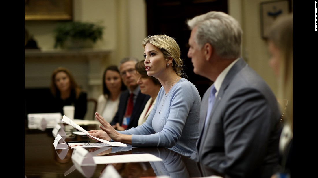 "Ivanka Trump, daughter of and adviser to President Trump, <a href=""http://www.cnn.com/2017/05/17/politics/ivanka-trump-white-house-event/"" target=""_blank"">hosts a roundtable discussion</a> Wednesday, May 17, that focused on human trafficking and how to combat it. She was joined at the White House by lawmakers from both parties."