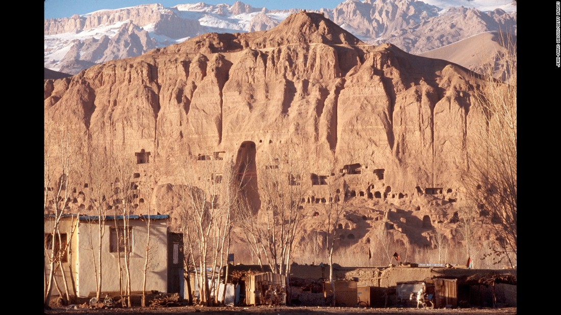 Damage is seen in Bamiyan, Afghanistan, where the Taliban destroyed the Buddhas of Bamiyan, the two tallest standing Buddhas in the world. The act generated an outcry in the international community. The Taliban also destroyed villages and towns in Bamiyan Province.