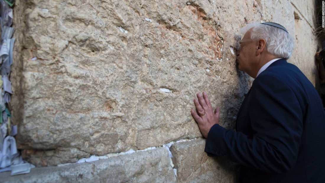 David Friedman, the US ambassador to Israel, kisses the Western Wall in Jerusalem on Monday, May 15.