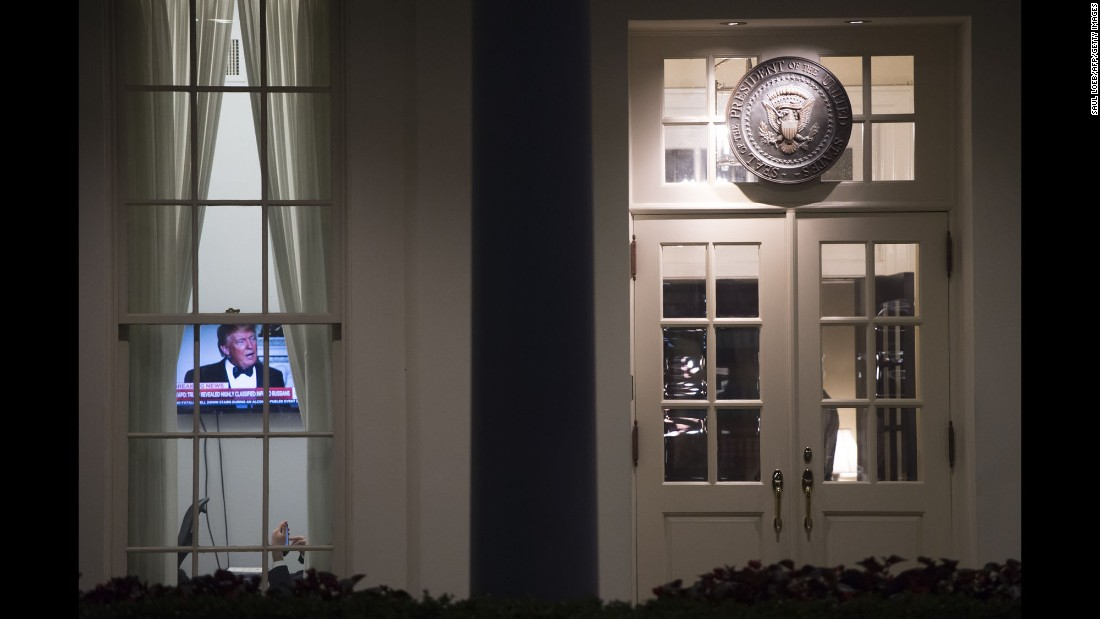 "The President appears on a television inside the West Wing of the White House on Monday, May 15. <a href=""http://www.cnn.com/2017/05/13/politics/gallery/week-in-politics-0514/index.html"" target=""_blank"">See last week in politics</a>"