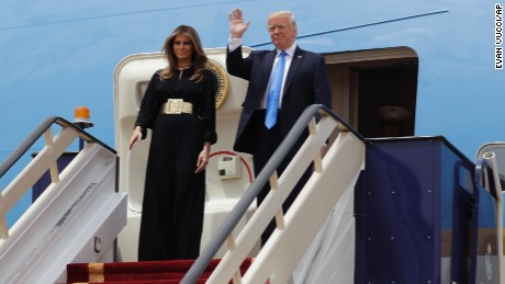 President Donald Trump and first lady Melania Trump arrive at the Royal Terminal of King Khalid International Airport, Saturday, May 20, 2017, in Riyadh. (AP Photo/Evan Vucci)
