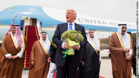 Trump is welcomed by King Salman during the President's arrival Saturday at the King Khalid International Airport in Riyadh.