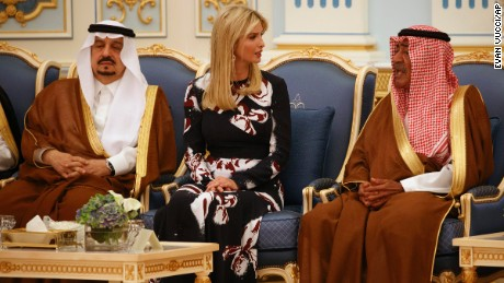 Ivanka Trump participates in a presentation ceremony of The Collar of Abdulaziz Al Saud Medal to President Donald Trump at the Royal Court Palace, Saturday, May 20, 2017, in Riyadh.