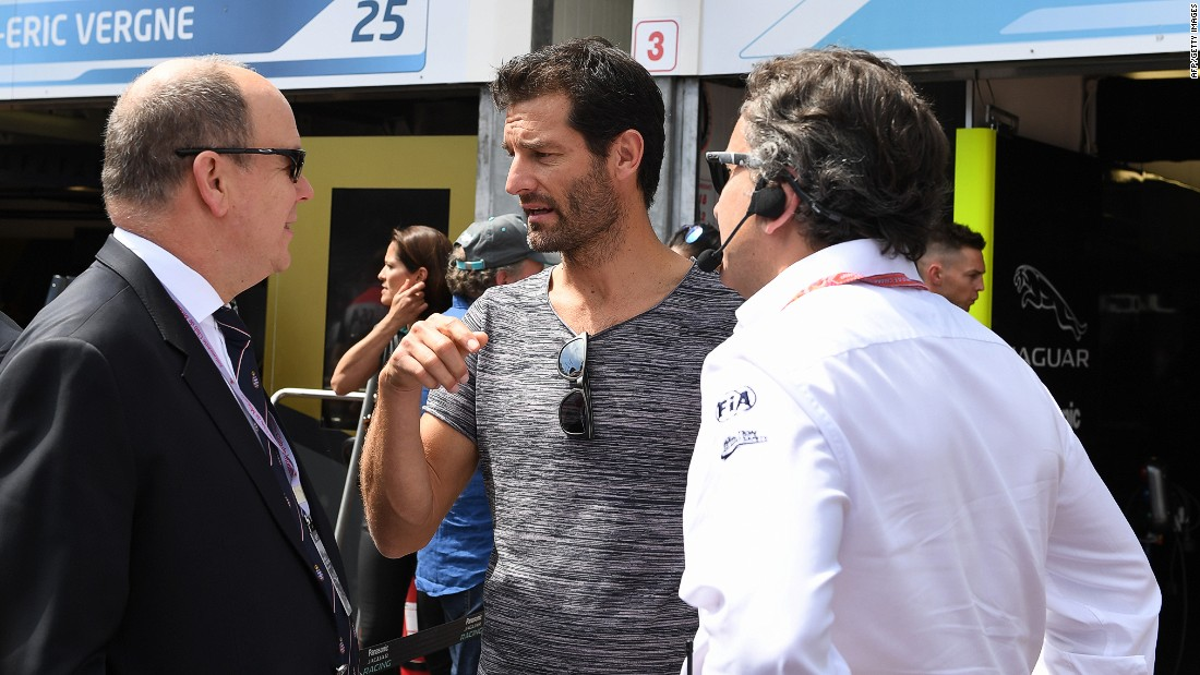 Ex-F1 star Mark Webber in conversation with Prince Albert of Monaco (left) and Formula E CEO Alejandro Agag at the Monaco ePrix.