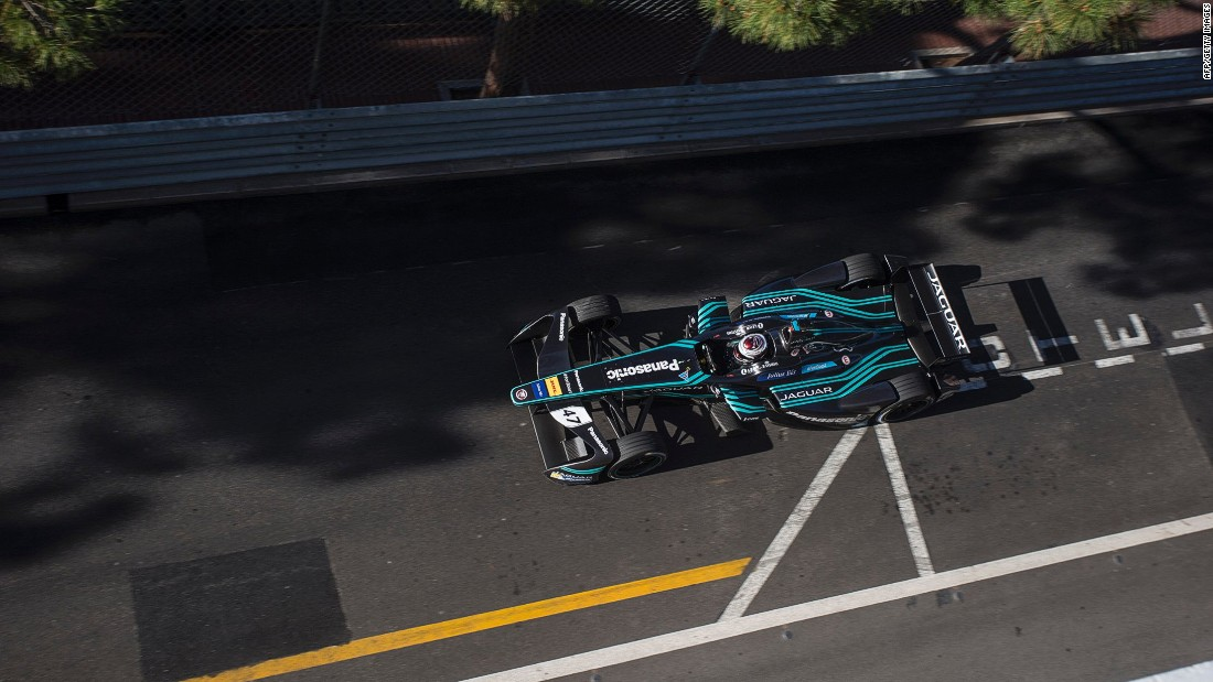 Jaguar Racing's Adam Carroll on track during the Monaco ePrix weekend.