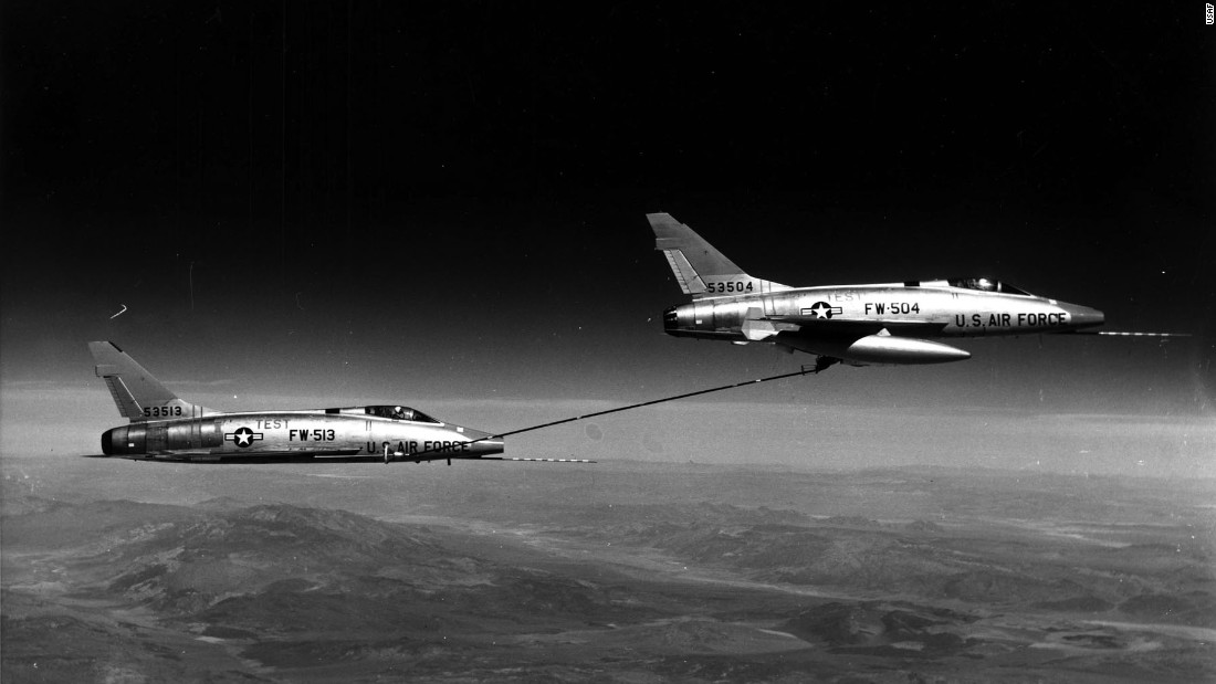 F-100s were the first US supersonic jets capable of refueling each other. The technique was called buddy tanking. The F-100D model included the first supersonic jet autopilot, which freed pilots to use their hands for reading maps or arming weapons.