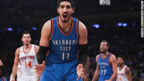 NEW YORK, NY - NOVEMBER 28:  Enes Kanter #11 of the Oklahoma City Thunder reacts against the New York Knicks during the first half at Madison Square Garden on November 28, 2016 in New York City. NOTE TO USER: User expressly acknowledges and agrees that, by downloading and or using this photograph, User is consenting to the terms and conditions of the Getty Images License Agreement.  (Photo by Michael Reaves/Getty Images)