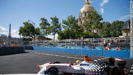 Britain's Mike Conway of team Faraday Future Dragon Racing competes in the Formula E championship around the Invalides in Paris on May 20, 2017.  / AFP PHOTO / GEOFFROY VAN DER HASSELT        (Photo credit should read GEOFFROY VAN DER HASSELT/AFP/Getty Images)
