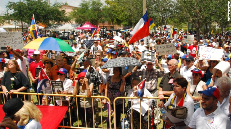 Protesters demanded the resignation of Venezuela's President Nicolas Maduro in a rally held May 20 in Miami.