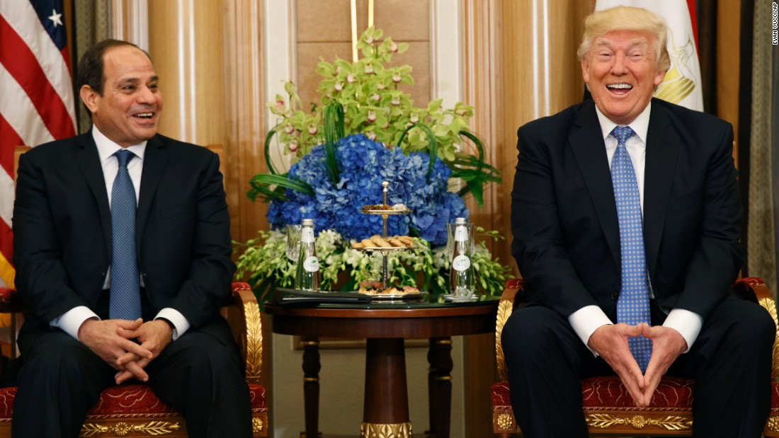 "President Trump and Egyptian President Abdel Fattah el-Sisi share a laugh during a meeting on May 21. El-Sisi complimented Trump on his ""unique personality that is capable of doing the impossible."" Trump exchanged pleasantries back, <a href=""http://www.cnn.com/2017/05/21/politics/trump-abdel-fattah-al-sisi-shoes/"" target=""_blank"">praising el-Sisi's shoes.</a>"
