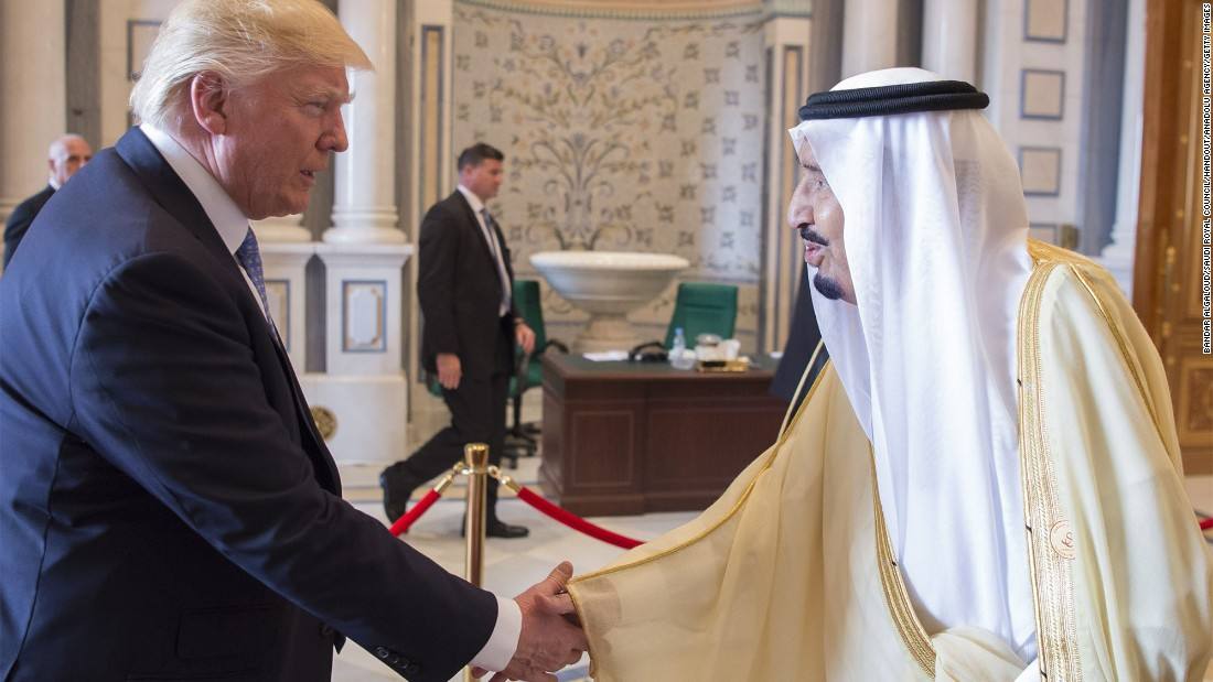 "Saudi King Salman shakes hands with Trump on May 21. Trump is the first US president <a href=""http://www.cnn.com/2017/05/19/world/donald-trump-first-foreign-presidential-trips/"" target=""_blank"">to start his first foreign trip in the Middle East.</a>"