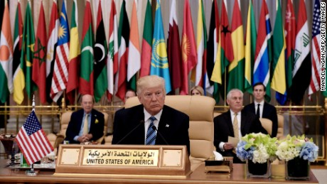 US President Donald Trump (C) is seated for at the Arabic Islamic American Summit at the King Abdulaziz Conference Center in Riyadh on May 21, 2017.