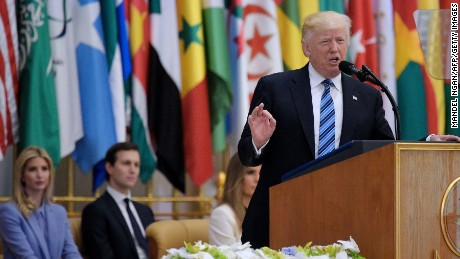 US President Donald Trump speaks during the Arabic Islamic American Summit at the King Abdulaziz Conference Center in Riyadh on May 21, 2017. Trump tells Muslim leaders he brings message of 'friendship, hope and love' / AFP PHOTO / MANDEL NGAN        (Photo credit should read MANDEL NGAN/AFP/Getty Images)