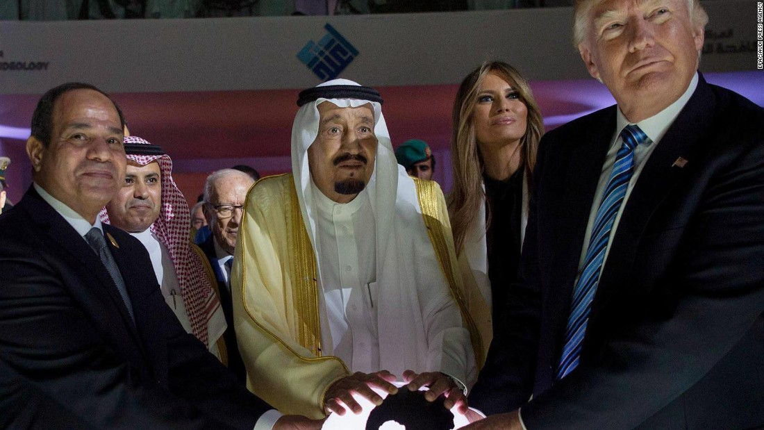 While in Riyadh, Saudi Arabia, Trump attends the inauguration ceremony for the Global Center for Combating Extremist Ideology. Joining him here are Saudi King Salman bin Abdulaziz Al Saud, center, and Egyptian President Abdel Fattah el-Sisi, left.