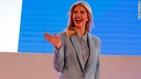 Ivanka Trump waves as she arrives to the Tweeps 2017 event to deliver remarks, Sunday, May 21, in Riyadh.